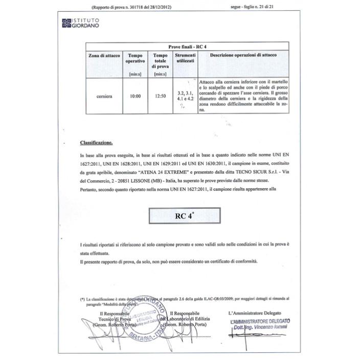 Certificazione Antintrusione Atena 24 Extreme