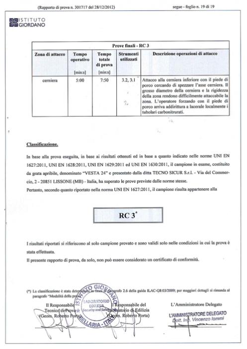 Certificazione Antintrusione Vesta 24