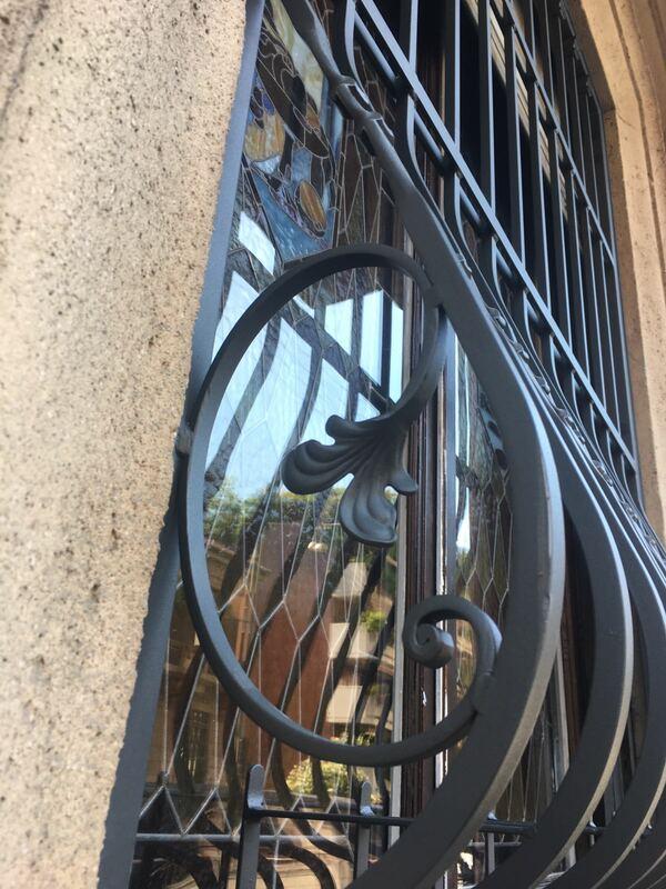 Inferriate per finestre con decoro Bombato rame 02